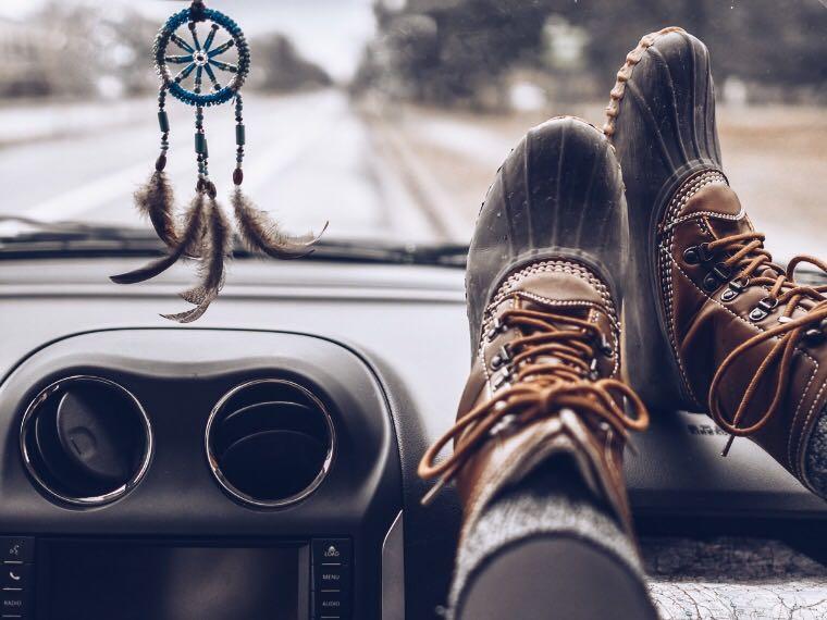 Feet up on dashboard