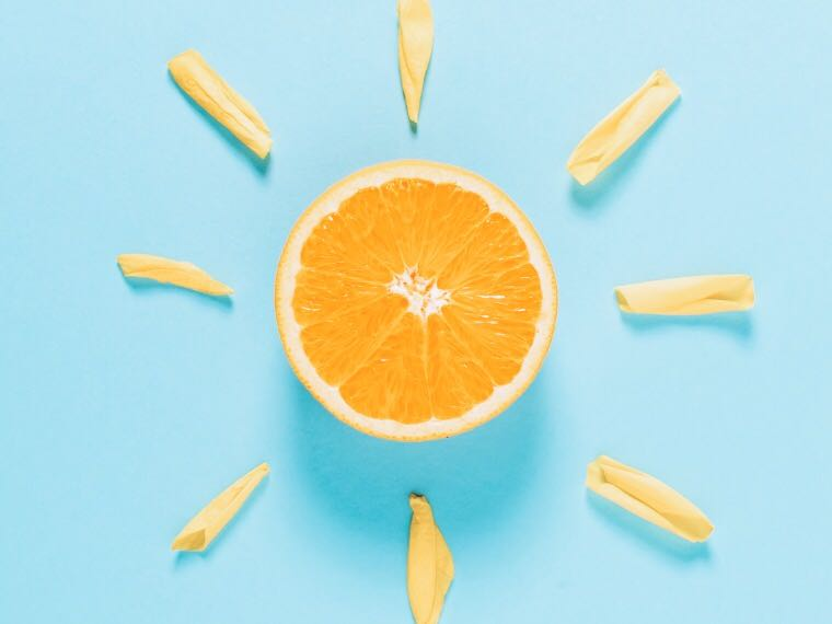 Orange half made to look like the sun